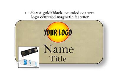 1 Gold Name Badge Color Logo Centered 2 Lines Of Imprint Magnet Fastener