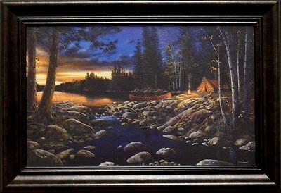 Jim Hansel  Headwaters  Camping Lake Decorator Print Framed 14 5  X 10 25