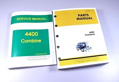 Service Manual Parts Catalog Set For John Deere 4400 Combine Shop Repair Gas