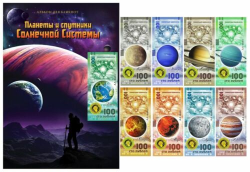 Album + 9 Banknote 100 rubles  Planets of the solar system. UNC
