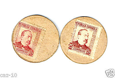 Two Spain 25 Cent  Postage Stamps Disk Issues, Correos  Portraits