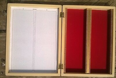Wooden Microscope Prepared Slide Storage Case Box 100 Slides - Brand New