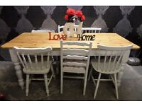 Reclaimed Shabby Chic 6' Farmhouse Pine Table & 6 Chairs - Uk Delivery