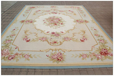 Aubusson Area - BLUE IVORY w PINK ROSE Aubusson Area Rug FREE SHIP Wool Woven SHABBY FRENCH CHIC