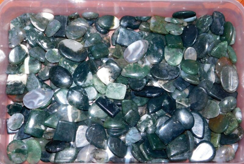 1000Cts  Moss Agate Cabochon Natural Gemstone Wholesale Lot- 137