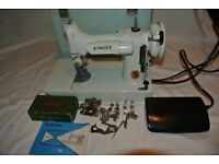 White Singer 221K Portable Featherweight Sewing Machine with attachments & Instruction Manual