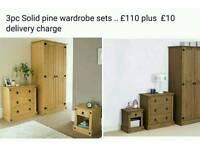3pc sold pine wardrobe set