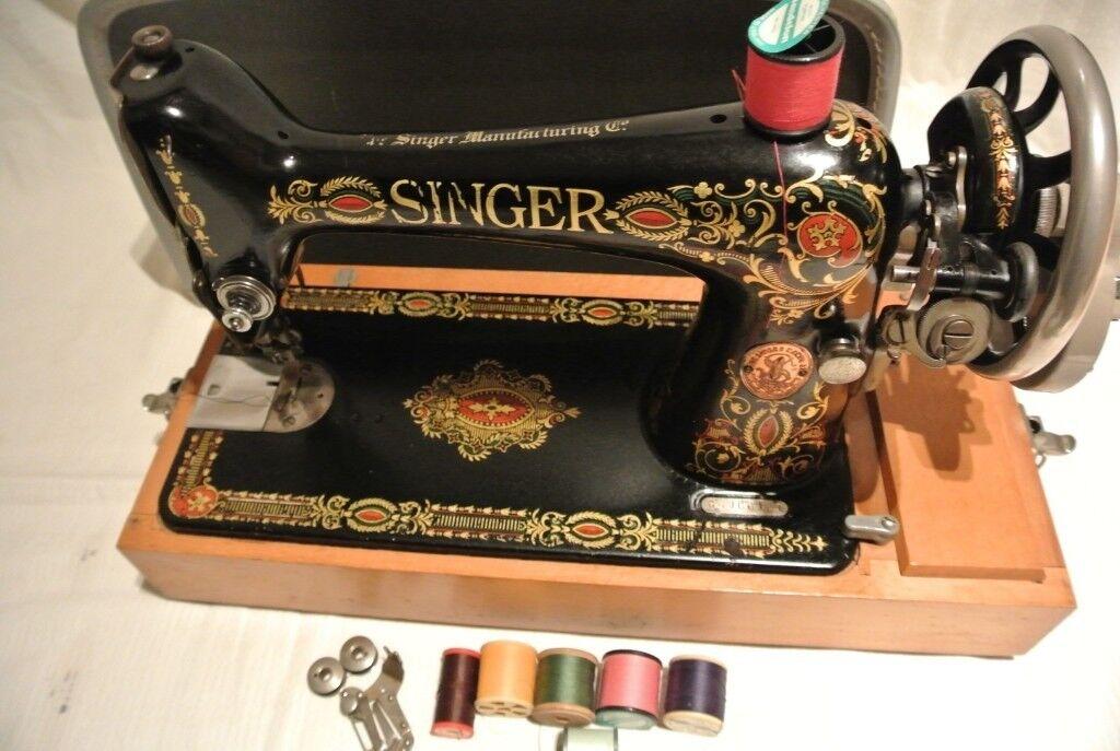 Beautiful Rare Singer 40 'Red Eye' Sewing Machine Hand Crank Gorgeous Red Eye Singer Sewing Machine