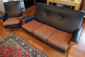 Vintage Mid Century Sofa Set 3 + 1 seater