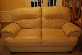 Cream Leather Suite. 3, 2 & 1 seater suite. Good condition