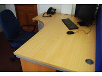 x2 large corner desks with blue adjustable chairs, FREE under desk drawers &FREE desk screen