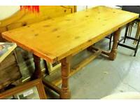 Vintage distressed pine refectory table