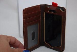 MyBitti iPhone 5 Deluxe pu and Genuine Leather Wallet Case Cover With Camera hole Folio, Brown