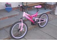 Girls Pink Suspension Muddy Fox Bike - Excellent condition - very low miles