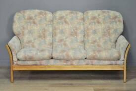 Attractive Large Vintage Upholstered 3 Seat Sofa Couch Settee With Oak Frame