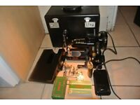 """Singer 222K Featherweight Sewing Machine"""" with attachments & INSTRUCTION MANUAL"""