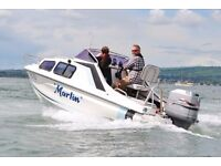 Marlin, 17' Cabin Cruiser, 115hp 2 Stroke Mariner Outboard, SBS Braked Trailer, ready to go.