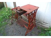 RED Singer 29K Cylinder Arm Patcher/Cobblers Industrial Sewing Machine Stand with ORIGINAL DRAWER