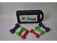 Set of dumbells and kettlebells