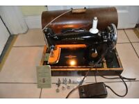 Singer 201K SEMI-Industrial machine with Manual SEE 4 LAYERS OF LEATHER SEWN