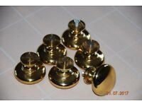 Six solid polished brass cupboard knobs