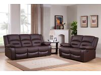 ***MIAMI BROWN NEW LEATHER RECLINER SOFAS***