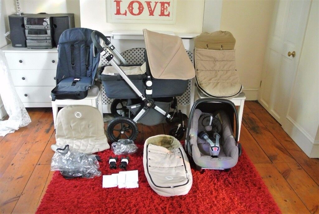 Bugaboo Cameleon 3 in 1 pram in grey & sand/beige with Maxi Cosi Car seat & many accessories