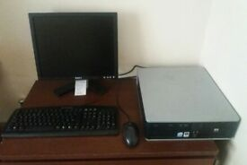 HP Compaq desktop pc, monitor, keyboard and mouse