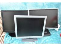 3 Computer monitors job lot, old but fully working, no dead pixels apparent