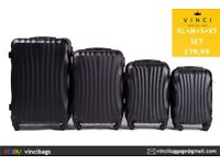 "Suitcase Set (XL + M + S + XS) Wings 159 Luggage 4 Wheels Black Combination Lock 28"" 24"" 20"" 18"""