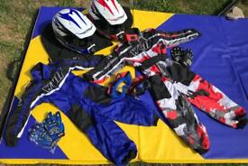 Wulf kids / childs motorbike / quad protective / safety kit: suits, helmets, gloves goggles etc