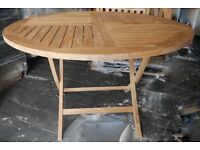 Solid Teak Wood Folding Table and 4 Reclining Chairs