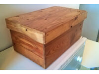 Solid pine wine chest storage box - rustic