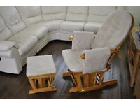 Nursing Glider Chair and Stool like Dutailier,four recline position great condition