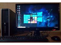 "High Spec HP intel G630 PC setup,4GB DDR3 RAM,LG 22"" Full HD LED,Wifi,win 10 64Bit,Computer/Desktop"