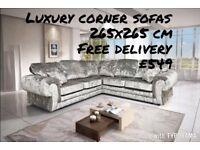 Brand new crushed velvet corner sofa