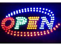 Flashing LED OPEN Shop Sign Neon Display Window Hanging Light