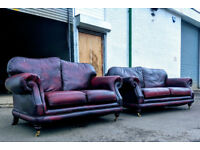 Thomas Lloyd 3+2 seater oxblood leather chesterfield style sofas DELIVERY AVAILABLE