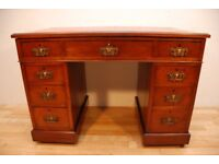 Antique Arts& Crafts Walnut Writing Desk With Burgundy Leather