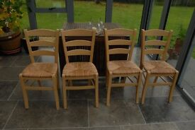 4 'Van Gogh' type beech frame chairs with rush seats from Habitat