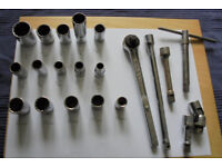 """Good Quality 1/2"""" Drive Handles, Extensions and 15 Various Sockets"""