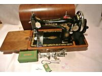 Immaculate Vintage 128K Singer Sewing Machine With Rococo decals & Attachments