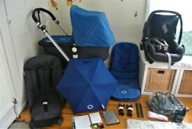 Bugaboo Cameleon 3 -in-1 pram with Maxi Cosi, Footmuff, Parasol and many more extras in blue