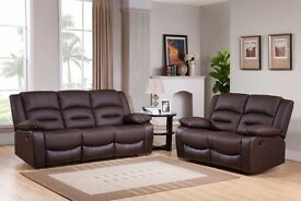 *~*~*BRAND NEW LEATHER RECLINER SOFAS*~*~* FREE DELIVERY Monaco Brown