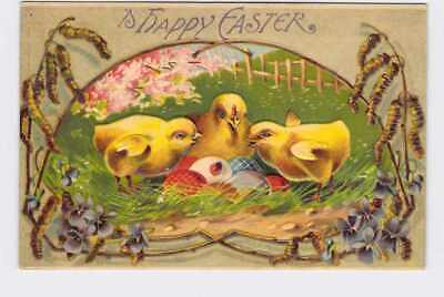 ANTIQUE POSTCARD EASTER CHICKENS CHICKS EGGS LADY BUG VIOLETS EMBOSSED HAPPY EAS - Lady Bug Eggs