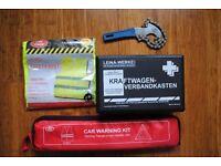 Car safety kit, safety triangle, hi-viz vest, first aid, oil filter wrench, Headlamp Converters