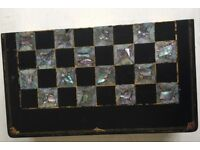 Antique mother of pearl backgammon box with pieces