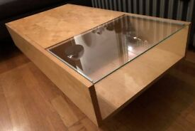 Beautiful, sturdy wood and glass Coffee Table with Storage section