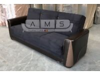 **LIMITED EDITION**BRAND NEW FABRIC STORAGE SOFA BED, 3 SEATER SLEEPER LEATHER ARM RESTS SOFABED