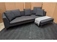 Corner Sofa / Chaise, in Dark Navy-Grey Herringbone Fabric + 5 Cushions